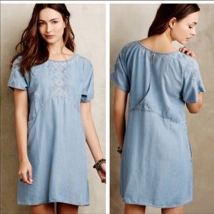 Anthropologie White Sands Blue Embroidered Dress